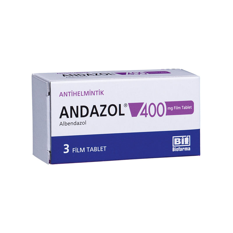 ANDAZOL 400 mg 3 film tablet kutusunun resmi